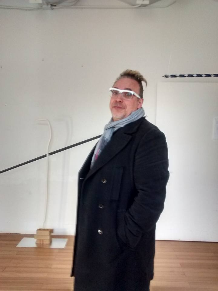 """Professor Lev Manovich at Kasia Kujawska-Murphy exhibition: """"Silence in Slow Motion"""" - """"DRILL and CIRCLES"""", solo show, Westbeth – Lou Reed Studio, New York City, 2015"""