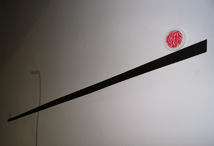 """Kasia Kujawska-Murphy, """"Silence in Slow Motion"""" - """"Recycling Sculpture with Falling Down Red Circle"""", solo show Westbeth – Lou Reed Studio, New York City, Manhattan, Soho, 2015"""