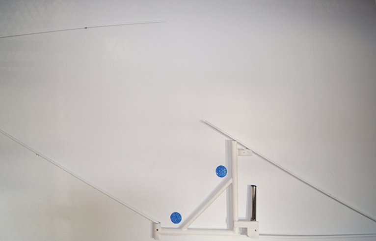 """Kasia Kujawska-Murphy, """"Silence in Slow Motion"""" - """"White Recycling Sculpture and Blue Circles"""", solo show Westbeth – Lou Reed Studio, New York City, Manhattan, Soho, 2015"""