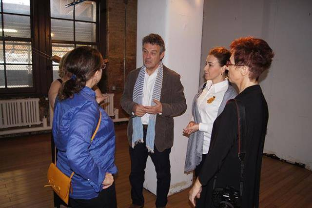 """Ambasador of the Republic of Poland , Mr. Ryszard Schnepf with Wife, Mrs. Dorota Wysocka-Schnepf at Kasia Kujawska-Murphy, """"Silence in Slow Motion"""" - """"White Recycling Sculpture and Blue Circles"""", solo show Westbeth – Lou Reed Studio, New York City, Manhattan, Soho, 2015"""