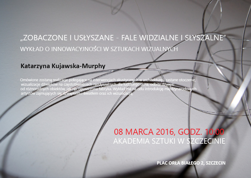 "2016 Opened Lecture ""Seen and Heard - Visible and Audible Waves. Innovations in the Visual Arts"";  Academy of Fine Arts Szczecin, Poland"